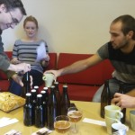 Tasting and labeling of our Puddefjorden Crude Stout and Industrial Pale Ale.